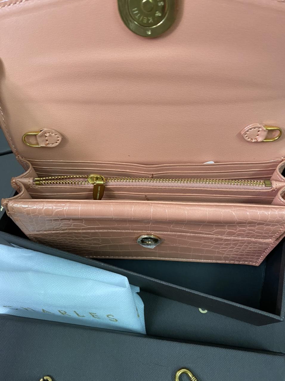 Túi Cnk nắp tam giác khóa ovan 2 màu - CL275
