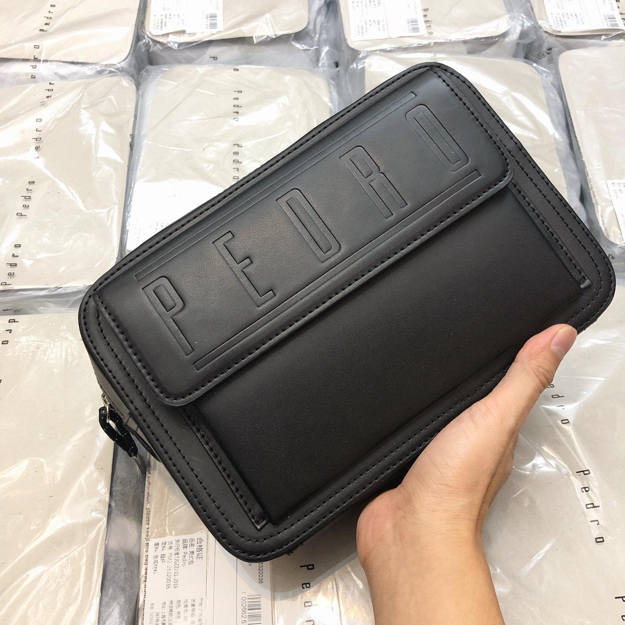 Túi nam Pedro ngang nắp gập logo to - XK814