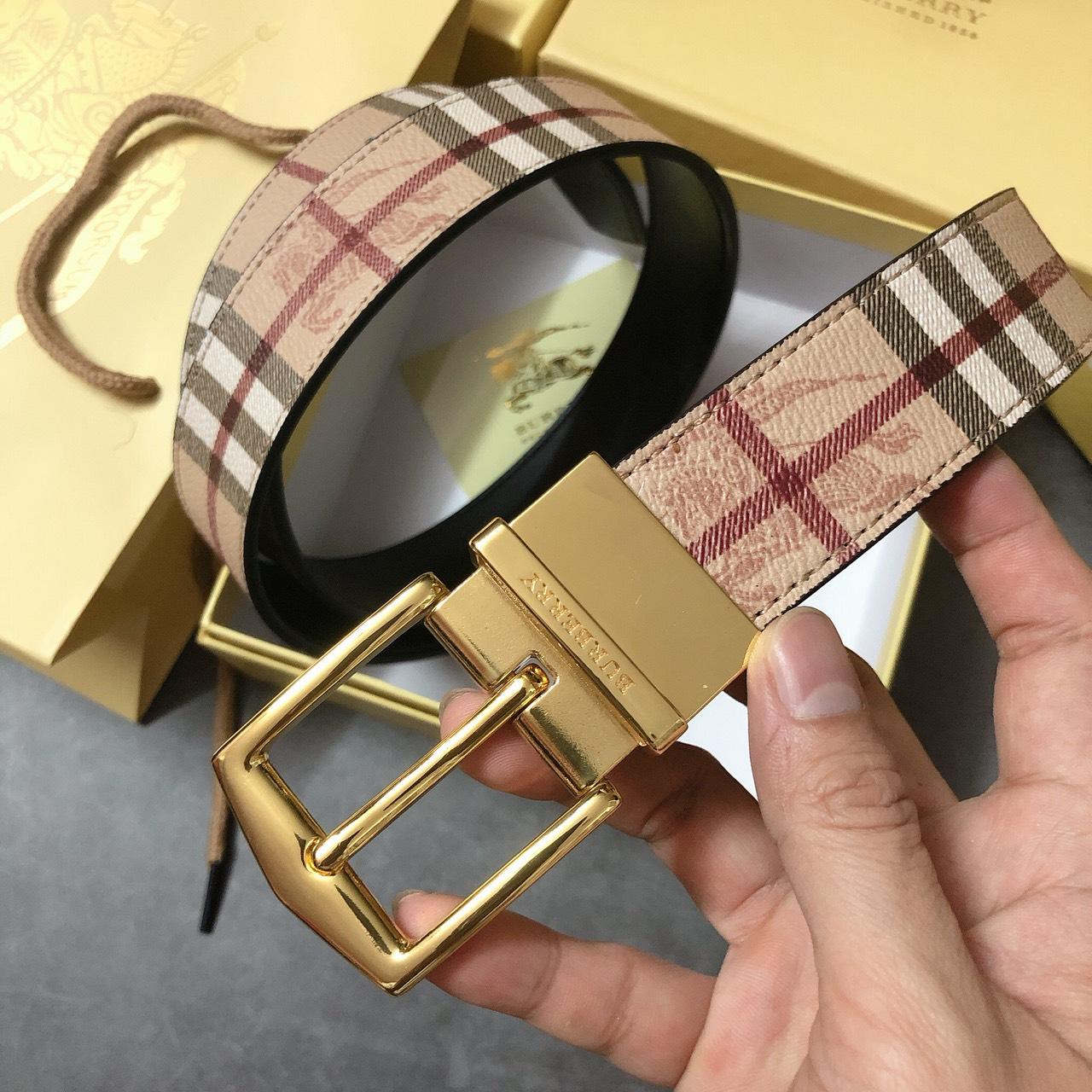 Nịt Burberry cài vàng caro - NN188