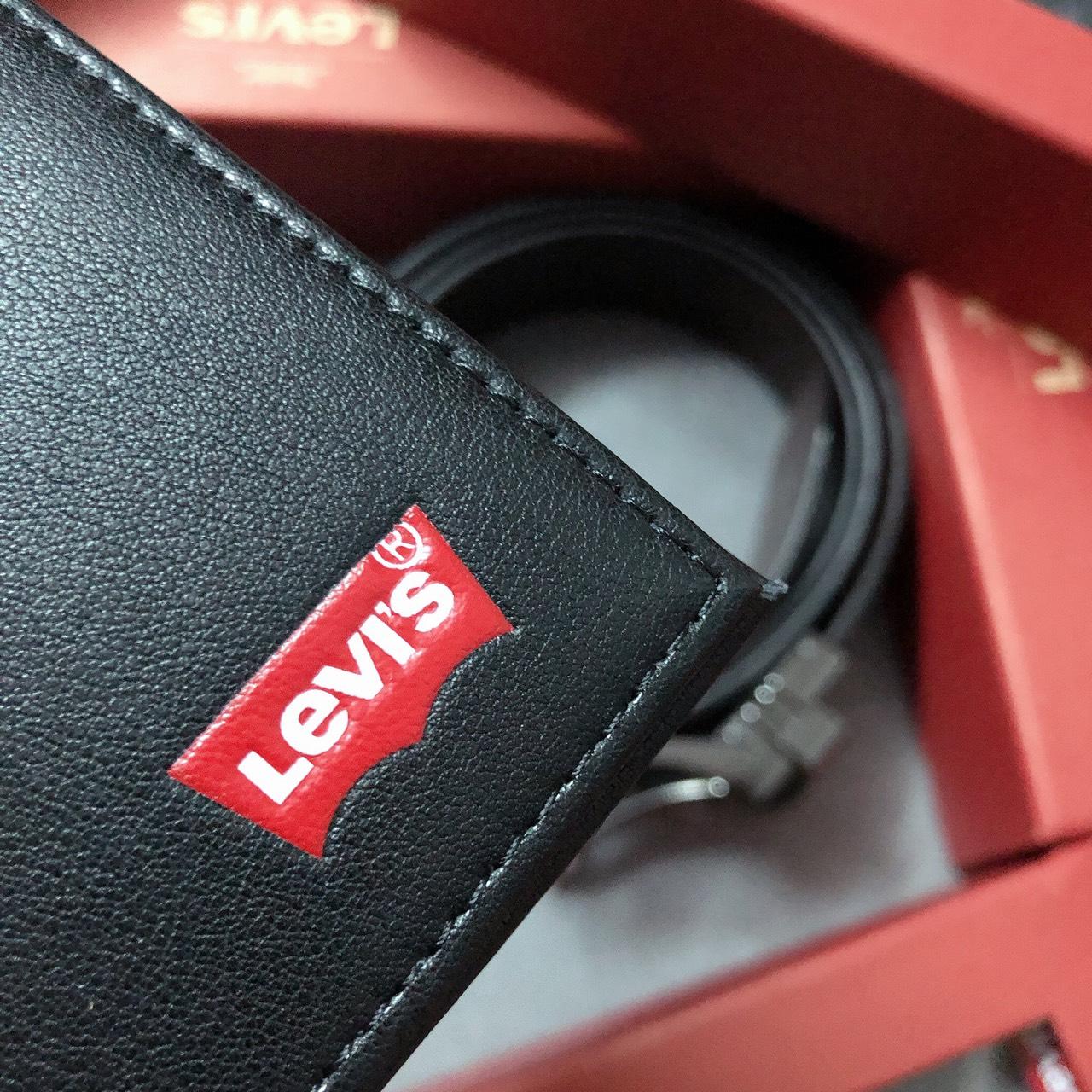 Set Levis ví logo đỏ+ khóa gài vuông dây trơn - S139