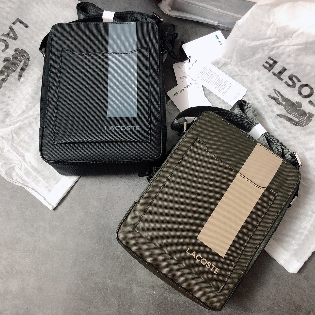 Túi Lacoste hộp sọc - XK835