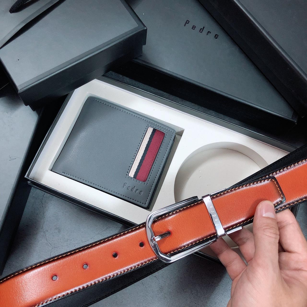 Set ví sọc đỏ + nịt gài bầu 2 dây đen - nâu - S158