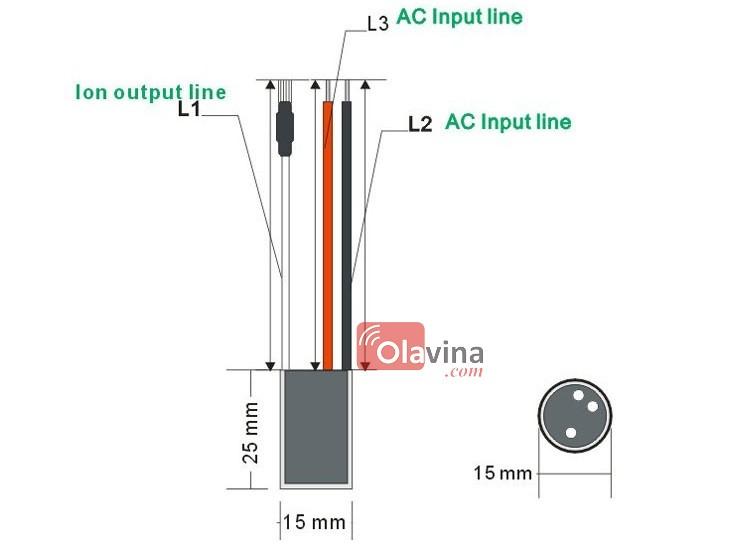 Đầu phát ion âm lọc không khí