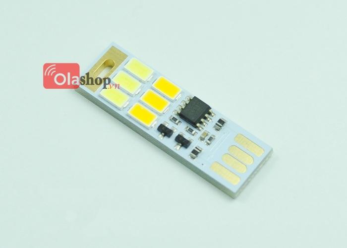 Đèn 6 led usb 2 màu ánh sáng công tắc cảm ứng