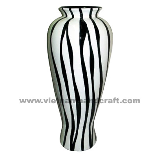 Black lacquered bamboo vase with solid white stripes