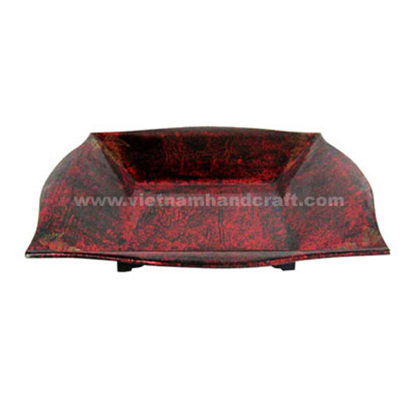 Lacquered decoration bowl with silver metallic red on black background