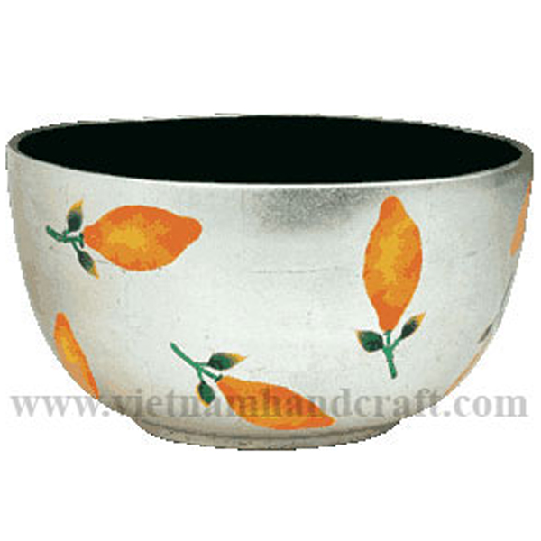 Lacquered serving bowl. Inside in black, outside in white silver leaf with hand-painted lemon
