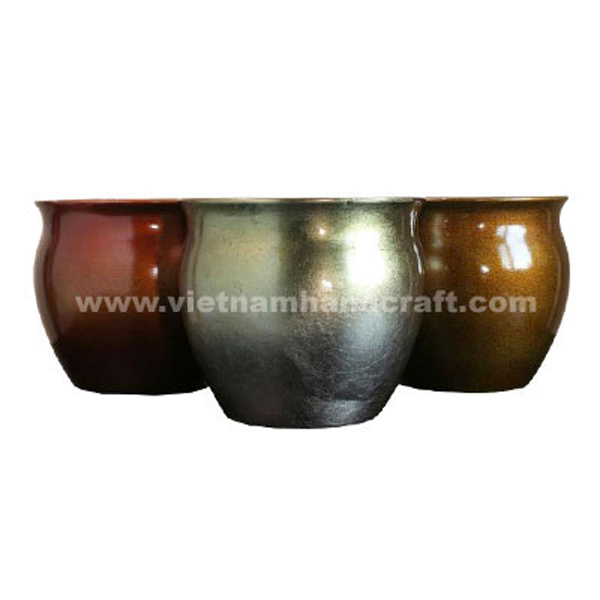 Set of 3 lacquerware flower pots in white, bronze and dark red silver