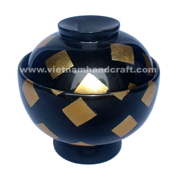 Black lacquered storage bowl with gold leaf squares outside