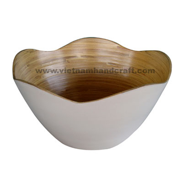 Lacquer bamboo candy bowl. Inside in natural bamboo, outside in white