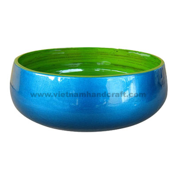 Lacquered bamboo fruit bowl. Inside hand-painted in green, outside in silver metallic blue