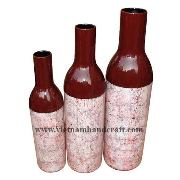 Bottle-shaped lacquer ceramic decorative vase with eggshell inlay