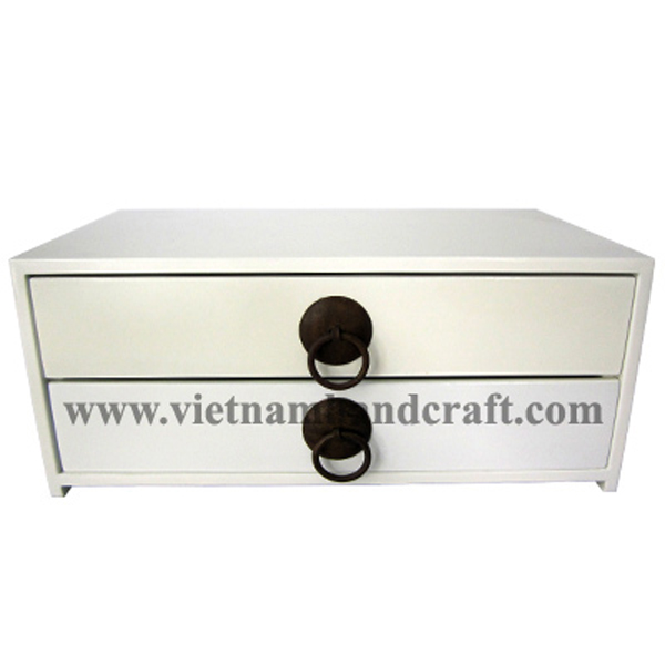 2 drawer white lacquered wood chest with metal handles