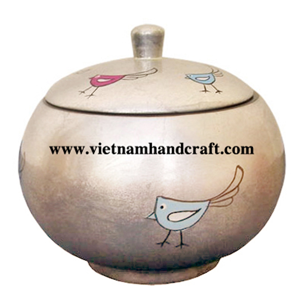 White silver leaf lacquered sugar jar with hand-painted chickens