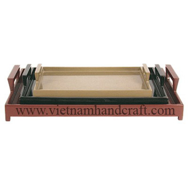 Set of 3 wooden lacquerware cocktail trays in e different colors