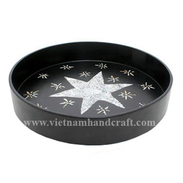 Black lacquered wooden decoration tray inlaid with eggshell stars
