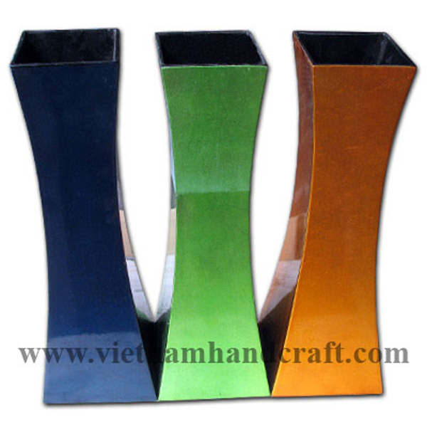Set of 3 lacquer wood flower vases in green, blue & gold silver