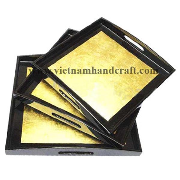 Black & gold leaf lacquer desk tray