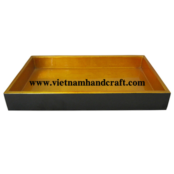 Lacquered wood coffee tray in gold silver & black