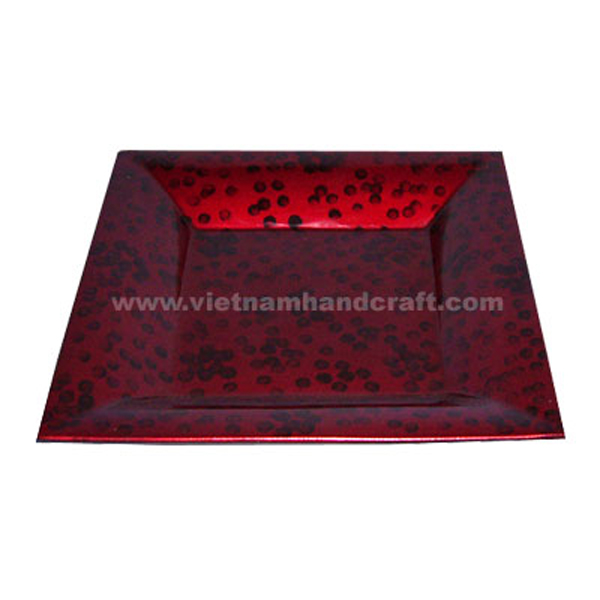 Silver metallic red lacquer plate with hand-painted black dots