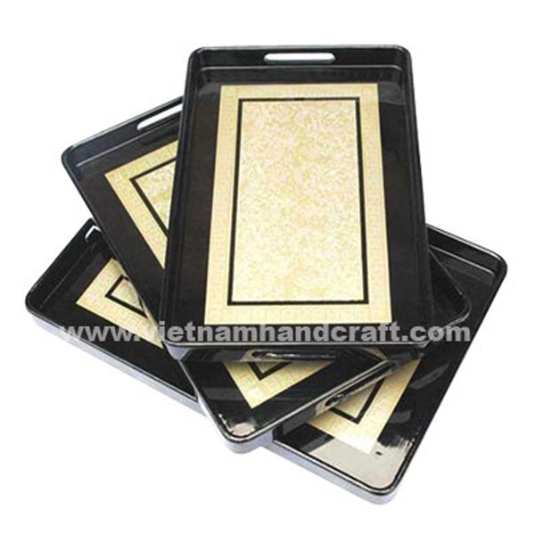 Set of 3 black lacquered decoration trays with hand-painted motifs in gold