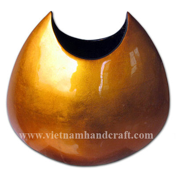 Moon-shaped lacquer decoration vase in gold silver leaf
