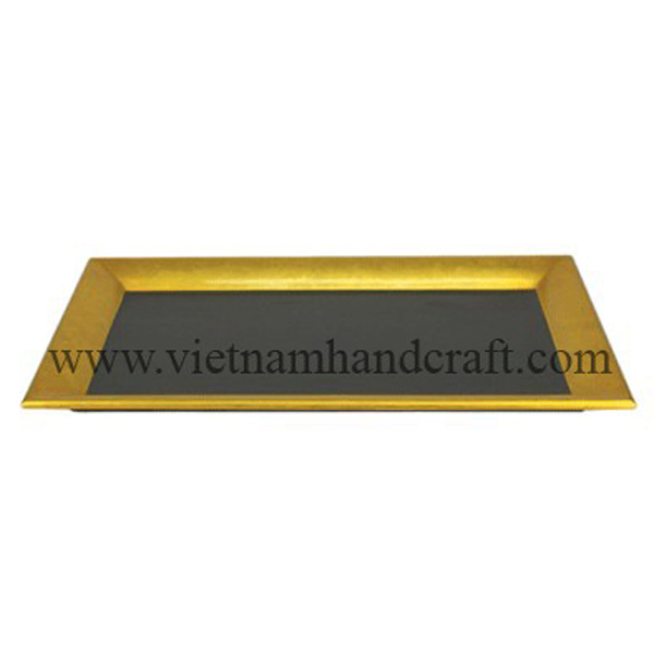 Lacquered wood candy tray in black & gold silver leaf