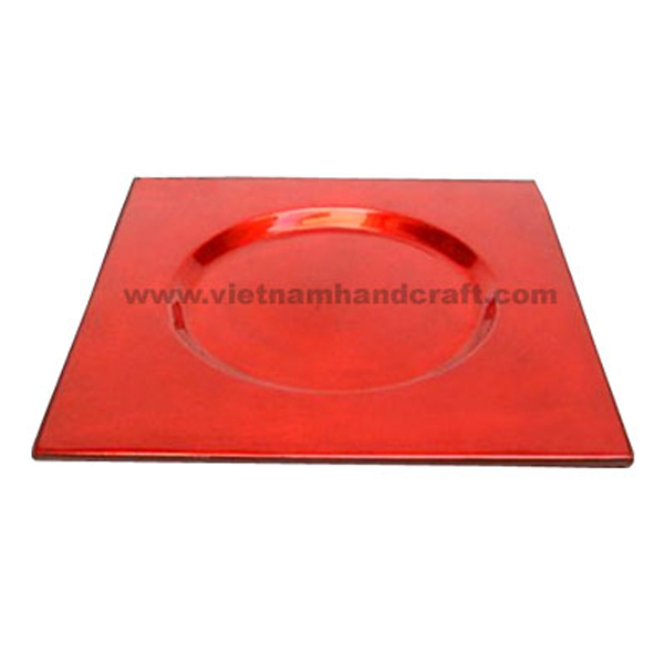 Red silver lacquered plate
