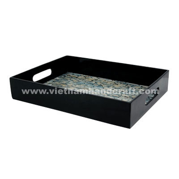 Black lacquer wood tea & coffee tray with sea shell inlay inside