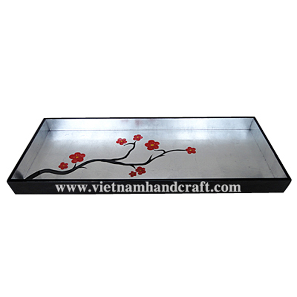 Lacquered decor tray. Inside in white silver leaf & with hand-painted red flowers, outside in black