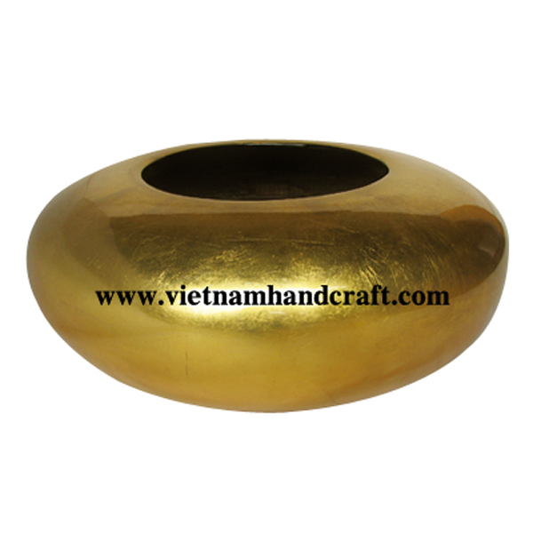 Lacquer bamboo decor vase in gold silver leaf