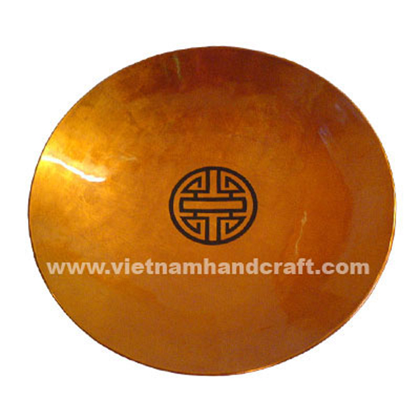 Gold silver lacquered decoration plate with black Chinese symbol