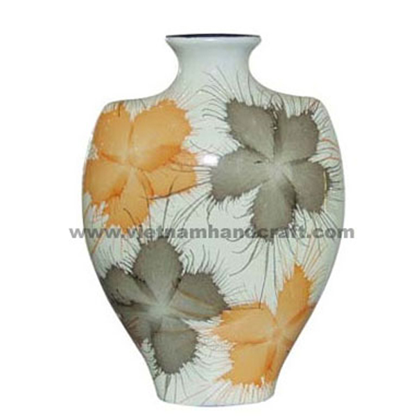 White lacquered vase with hand-painted fireworks