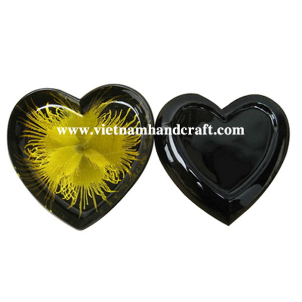 Heart-shaped black lacquer dish with hand-painted yellow fireworks