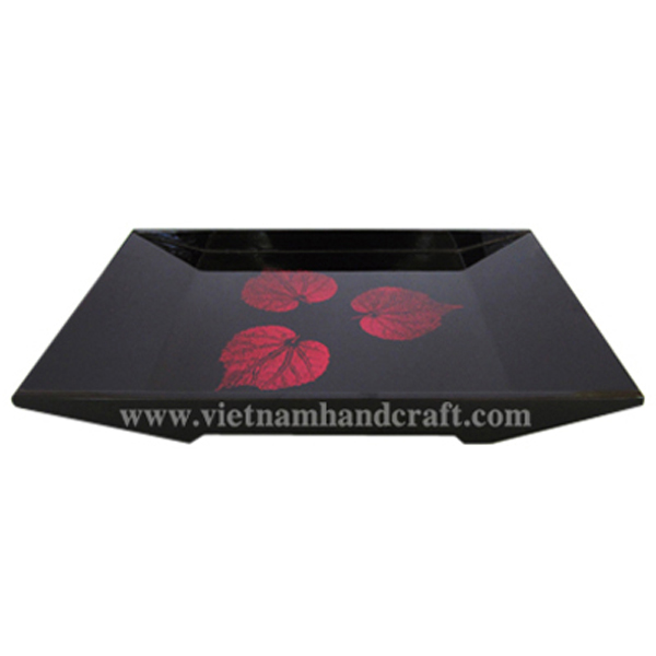 Black lacquer wooden dinnerware tray with hand-painted pink leaves