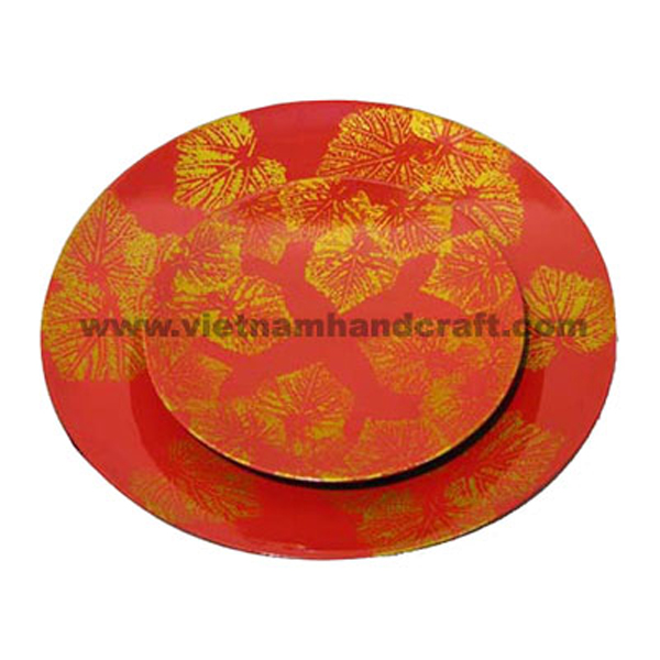 Red lacquer decoration plate with hand-painted gold leaf