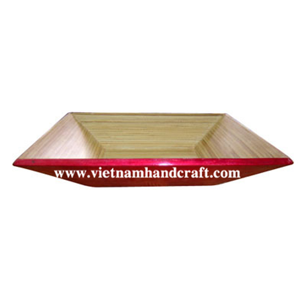 Lacquered bamboo fruit bowl. Inside in natural bamboo, outside in silver metallic red