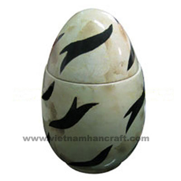 Egg-shaped lacquered wood decor box with eggshell inlay & black motifs