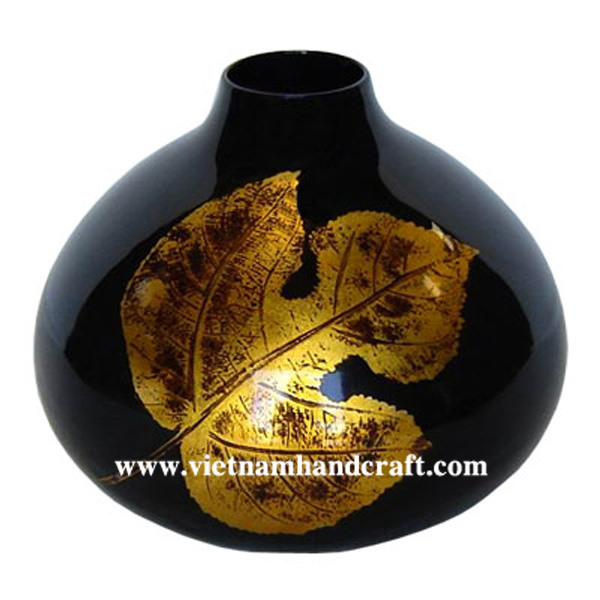 Black lacquered vase with hand-painted gold leaf