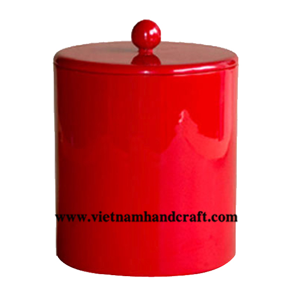 Red lacquerware coffee canister