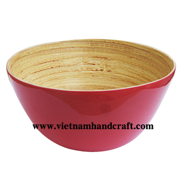 Lacquer bamboo ice-cream bowl. Inside in natural bamboo,  outside in solid pink