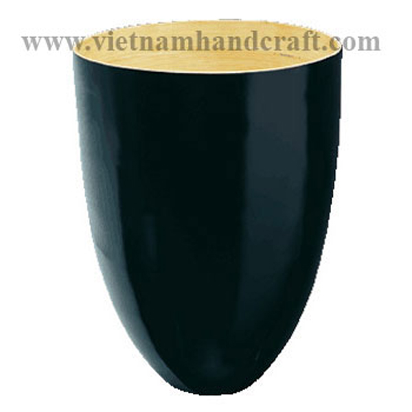 Lacquered bamboo dry flower vase. Inside in natural bamboo, outside in black