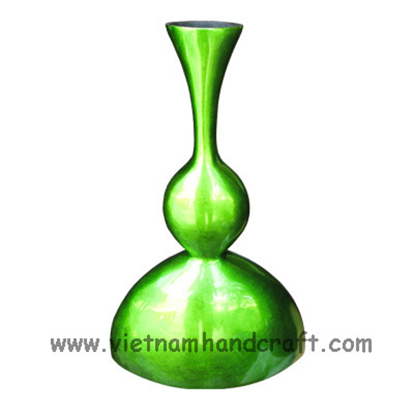 Lacquered decor vase in silver metallic green