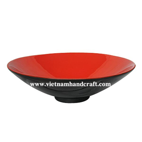 Lacquer decor bowl. Inside in solid orange, outside in black