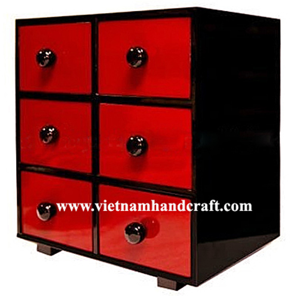 Black lacquered wood jewellery chest with 6 drawers in silver metallic red