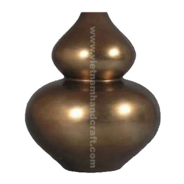 Lacquer ceramic decorative vase in silver metallic bronze