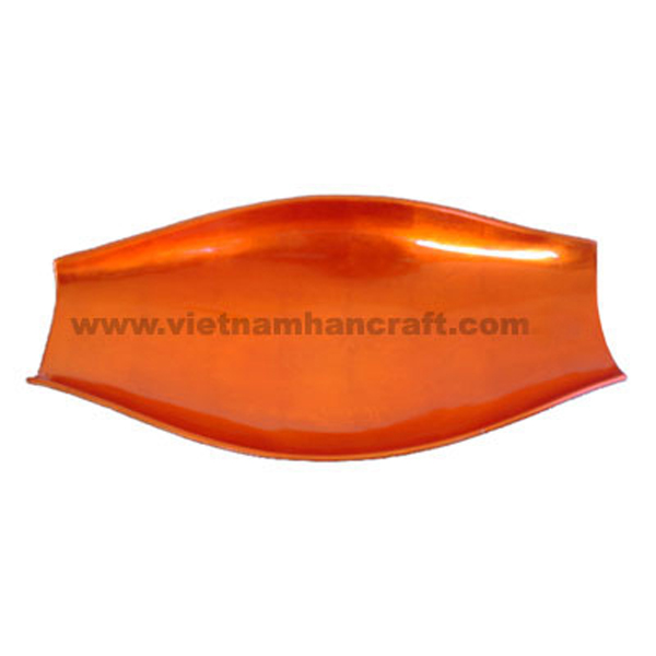Lacquer serving plate in silver metallic orange