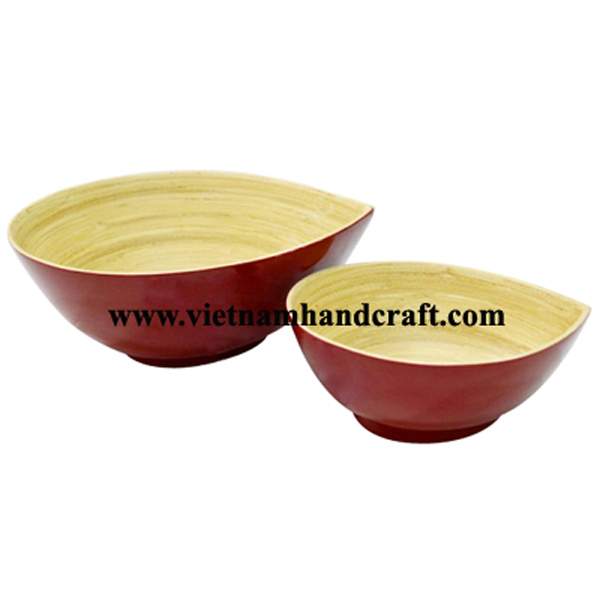 Mango shaped lacquer bamboo bowl. Inside in natural, outside in dark red