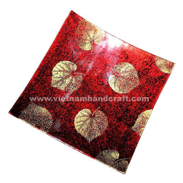 Silver metallic red & black lacquered wood decor plate with hand-painted gold leaves