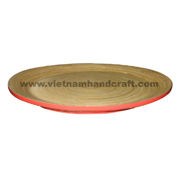 Lacquered bamboo cake tray. Inside in natural bamboo, outside in red